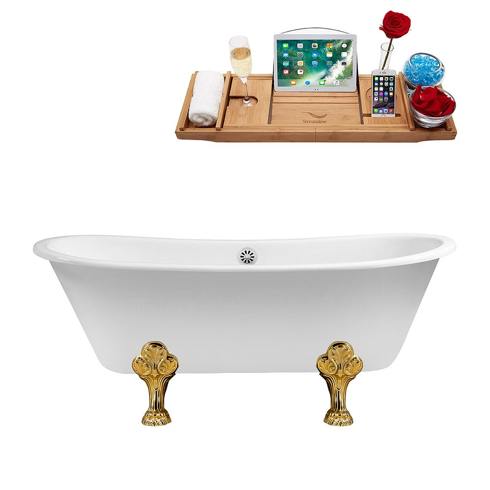 Streamline 67 inch Cast Iron R5061GLD-WH Soaking Clawfoot Tub and Tray with External Drain