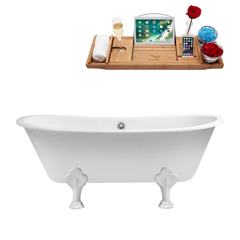 Streamline 67 inch Cast Iron R5061WH-WH Soaking Clawfoot Tub and Tray with External Drain