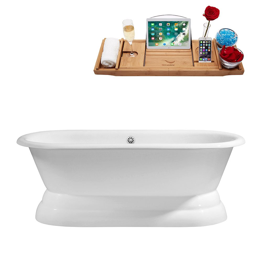 Streamline 60 inch Cast Iron R5081WH Soaking freestanding Tub and Tray with External Drain