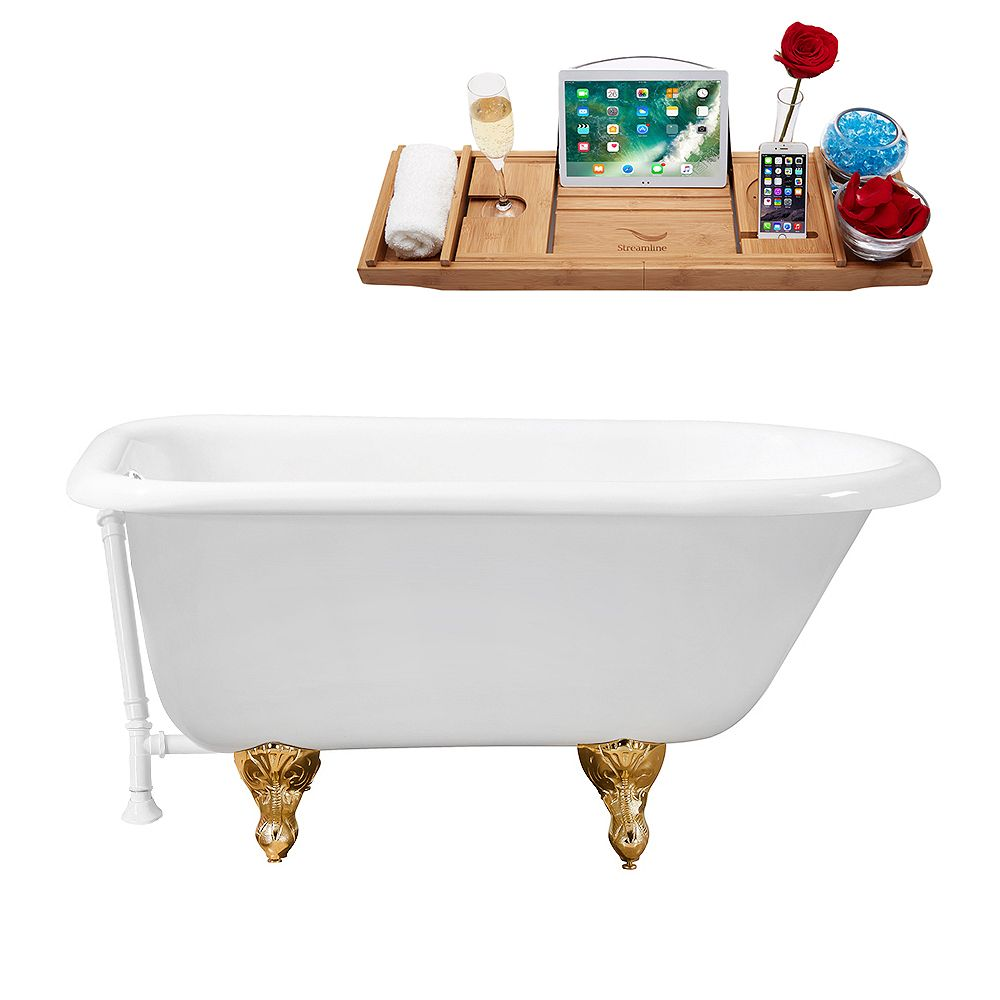 Streamline 66 inch Cast Iron R5100GLD-WH Soaking Clawfoot Tub and Tray with External Drain