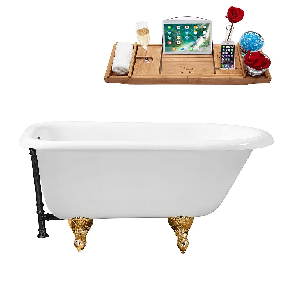 Streamline 48 inch Cast Iron R5101GLD-BL Soaking Clawfoot Tub and Tray with External Drain