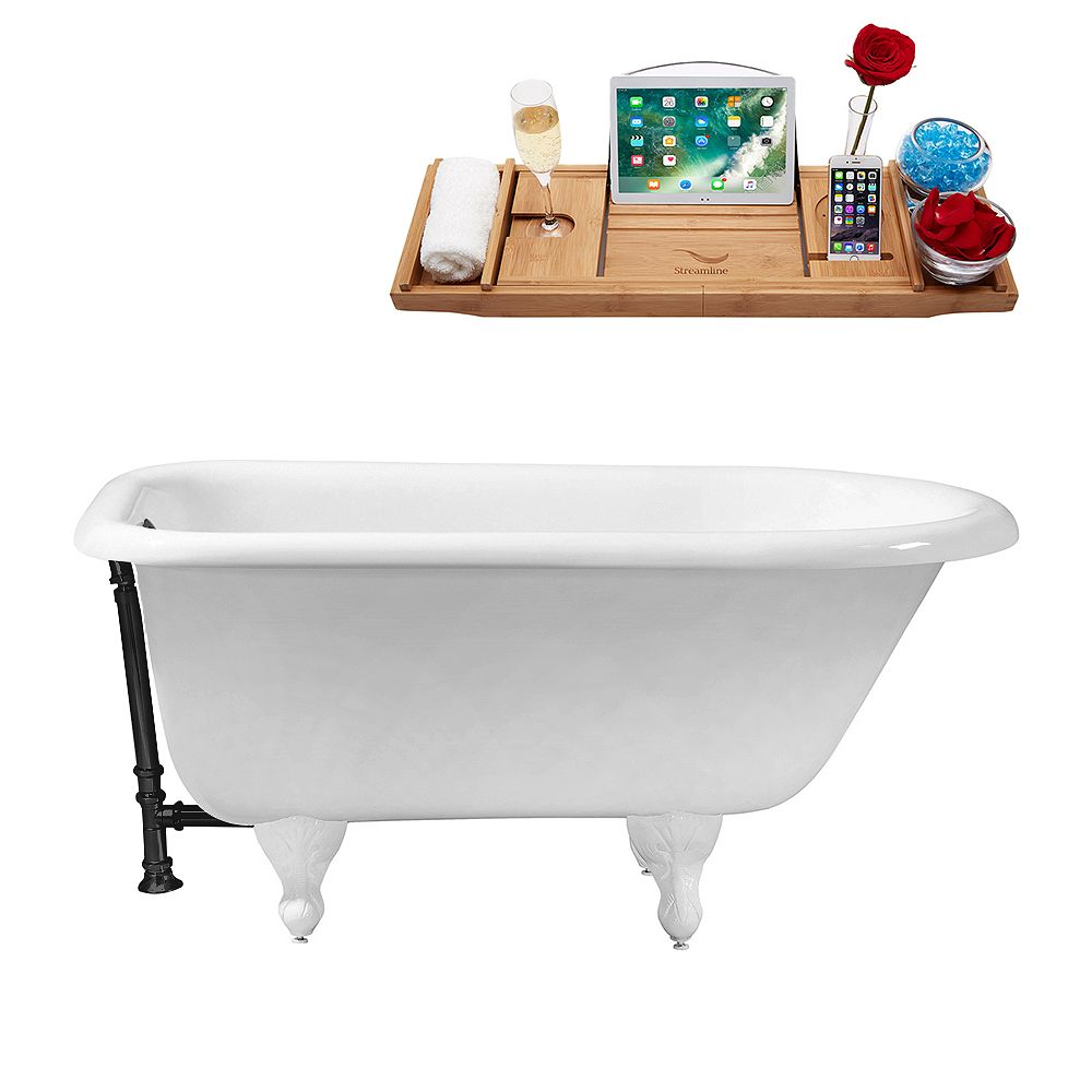 Streamline 48 inch Cast Iron R5101WH-BL Soaking Clawfoot Tub and Tray with External Drain