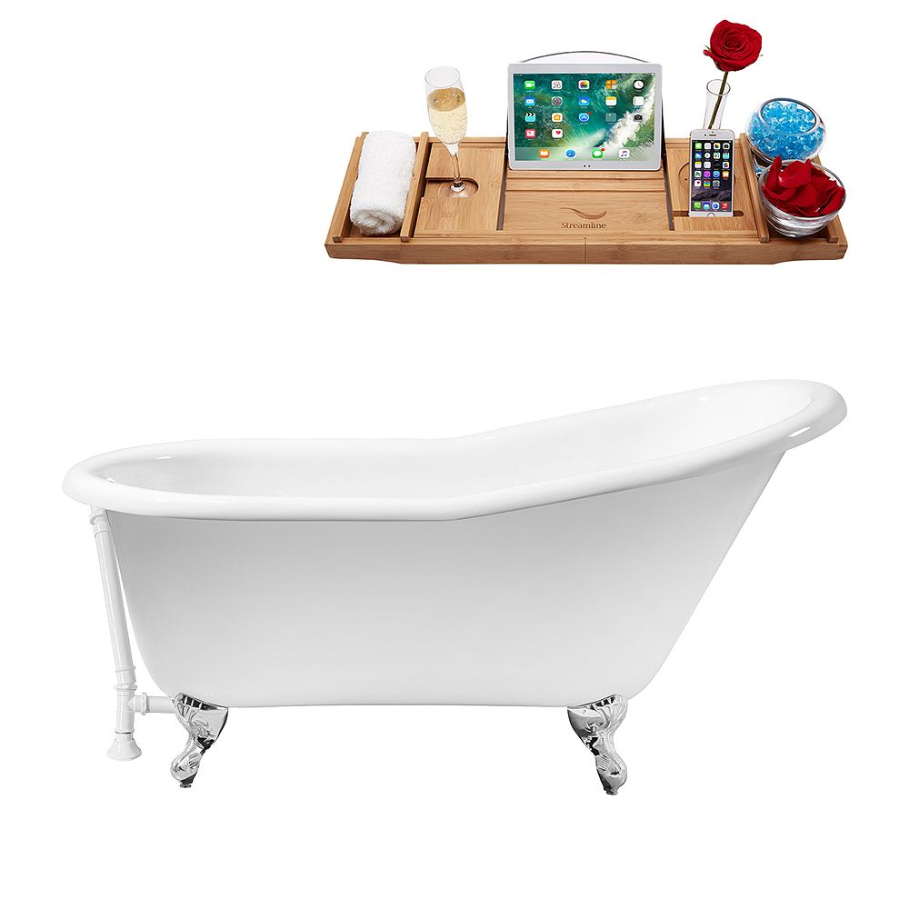 Streamline 60 inch Cast Iron R5120CH-WH Soaking Clawfoot Tub and Tray with External Drain