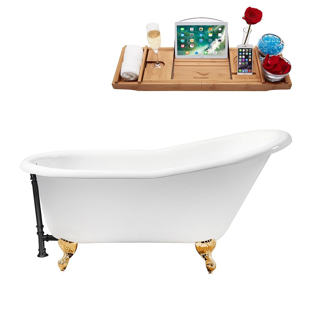 Streamline 60 inch Cast Iron R5120GLD-BL Soaking Clawfoot Tub and Tray with External Drain