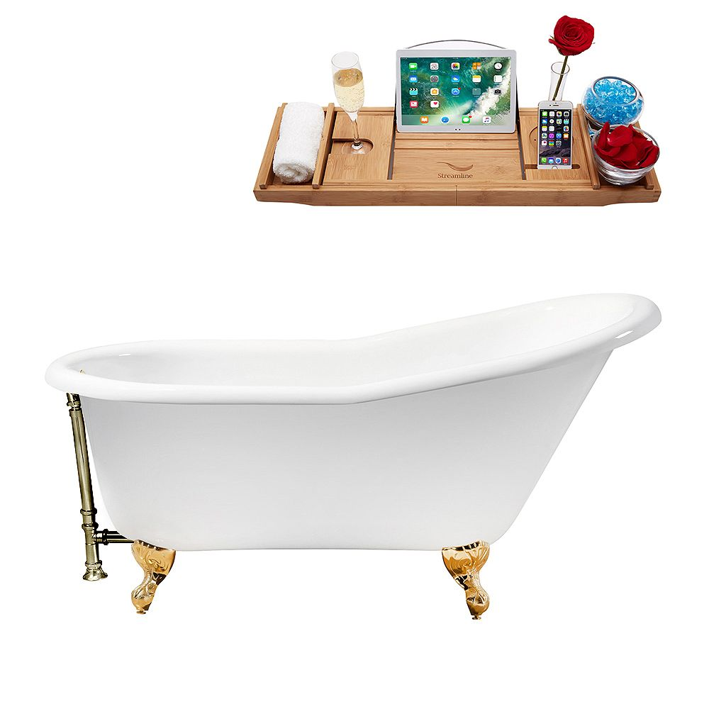 Streamline 60 inch Cast Iron R5120GLD-BNK Soaking Clawfoot Tub and Tray with External Drain