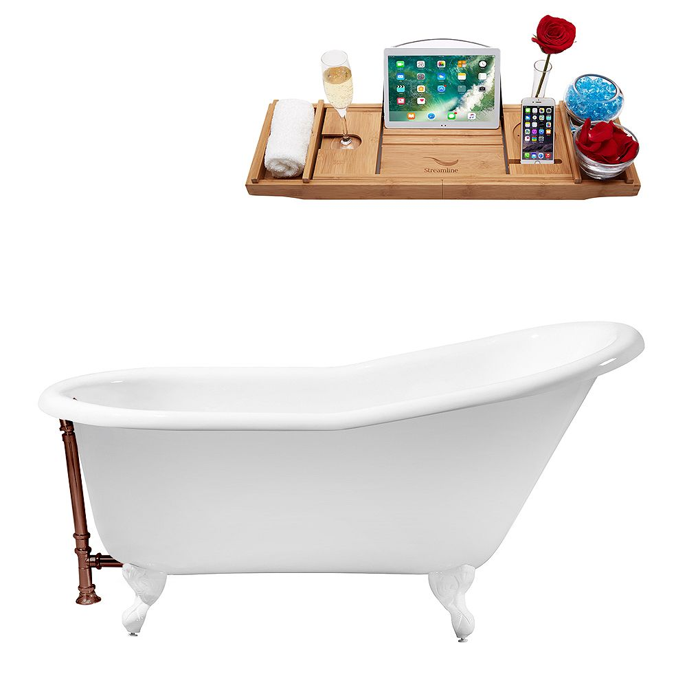 Streamline 60 inch Cast Iron R5120WH-ORB Soaking Clawfoot Tub and Tray with External Drain