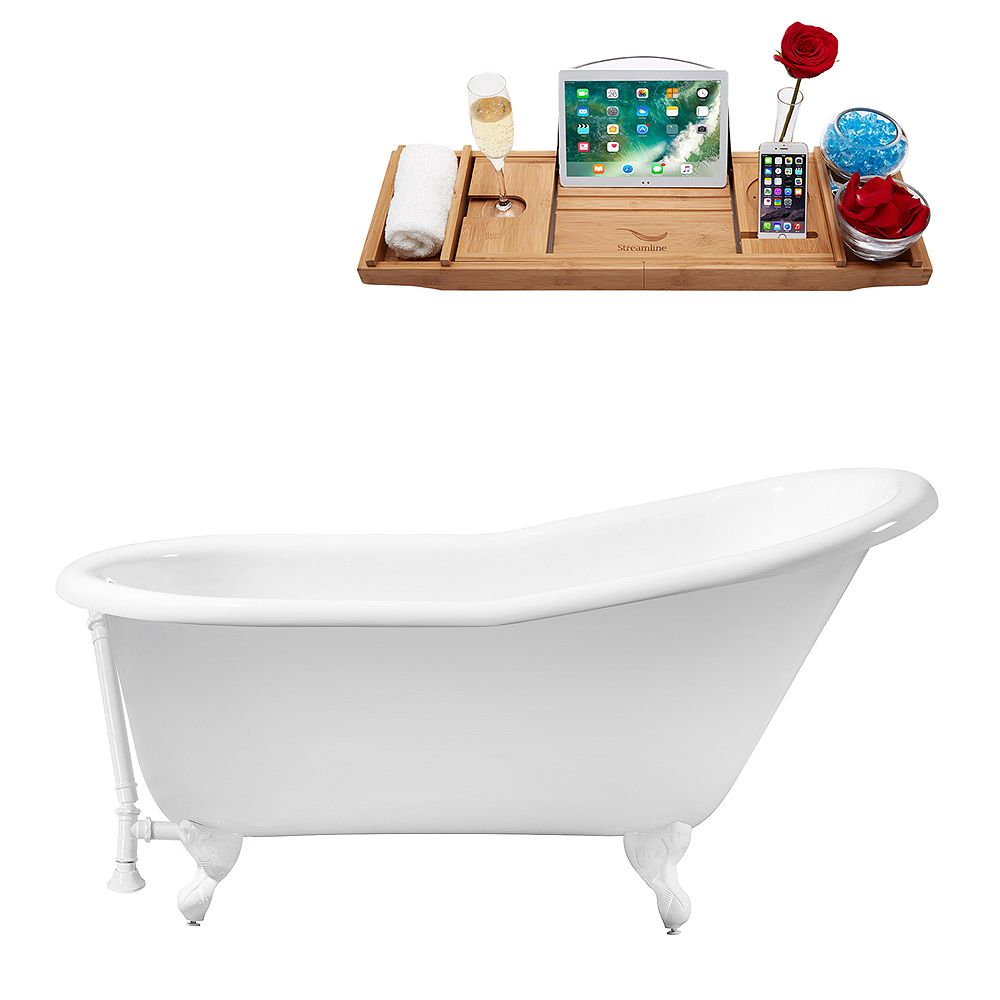 Streamline 60 inch Cast Iron R5120WH-WH Soaking Clawfoot Tub and Tray with External Drain