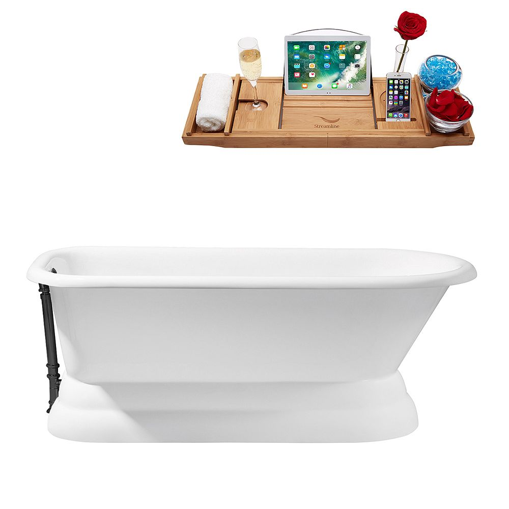 Streamline 66 inch Cast Iron R5140BL Soaking freestanding Tub and Tray with External Drain
