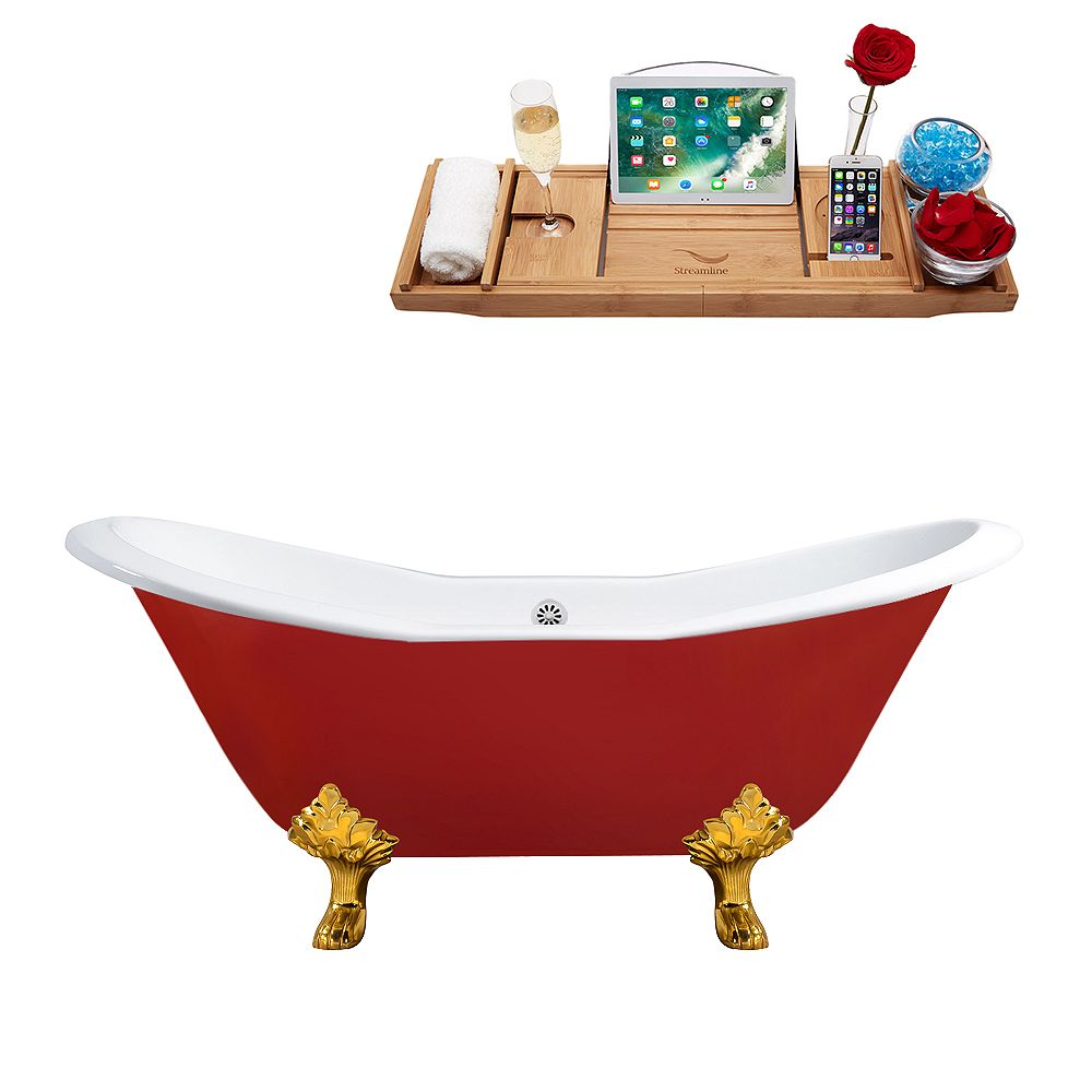 Streamline 72 inch Cast Iron R5160GLD-WH Soaking Clawfoot Tub and Tray with External Drain