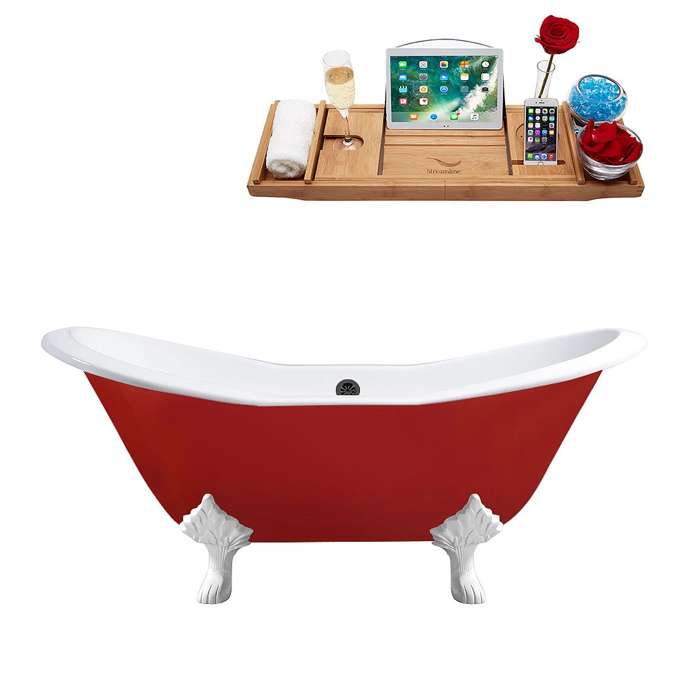 Streamline 61 inch Cast Iron R5161WH-BL Soaking Clawfoot Tub and Tray with External Drain