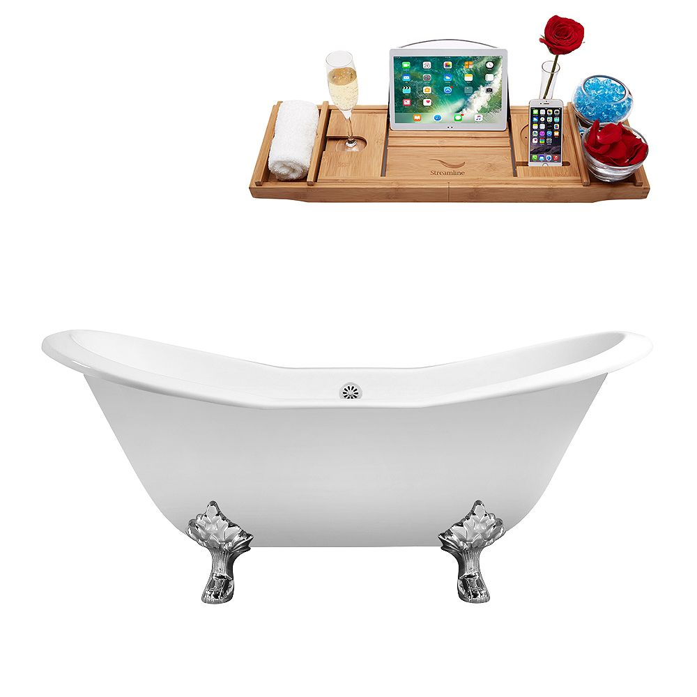 Streamline 61 inch Cast Iron R5163CH-WH Soaking Clawfoot Tub and Tray with External Drain