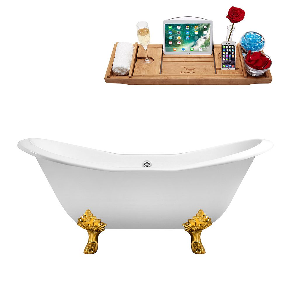 Streamline 61 inch Cast Iron R5163GLD-WH Soaking Clawfoot Tub and Tray with External Drain