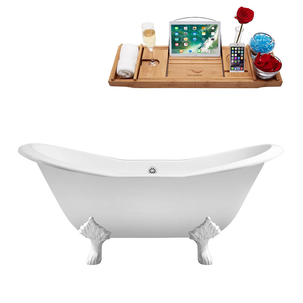 Streamline 61 inch Cast Iron R5163WH-WH Soaking Clawfoot Tub and Tray with External Drain