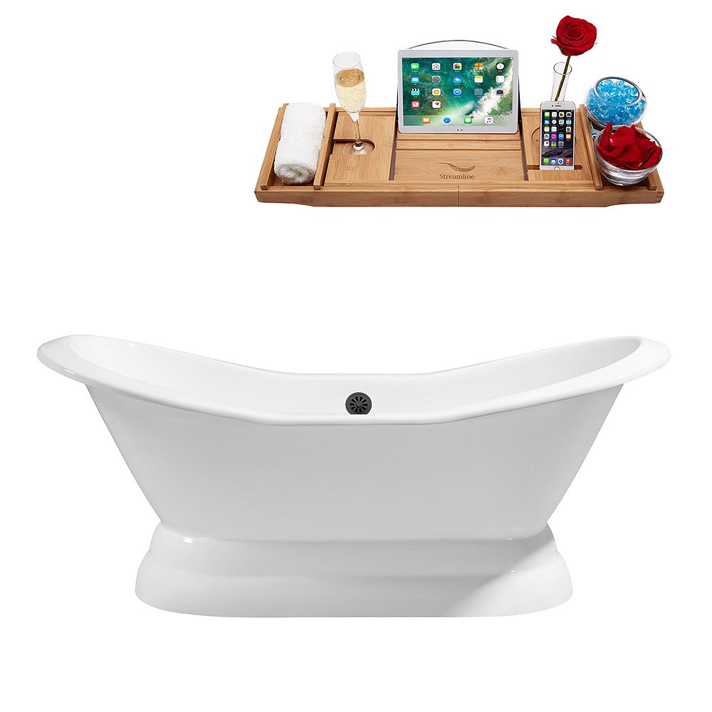 Streamline 72 inch Cast Iron R5180BL Soaking freestanding Tub and Tray with External Drain