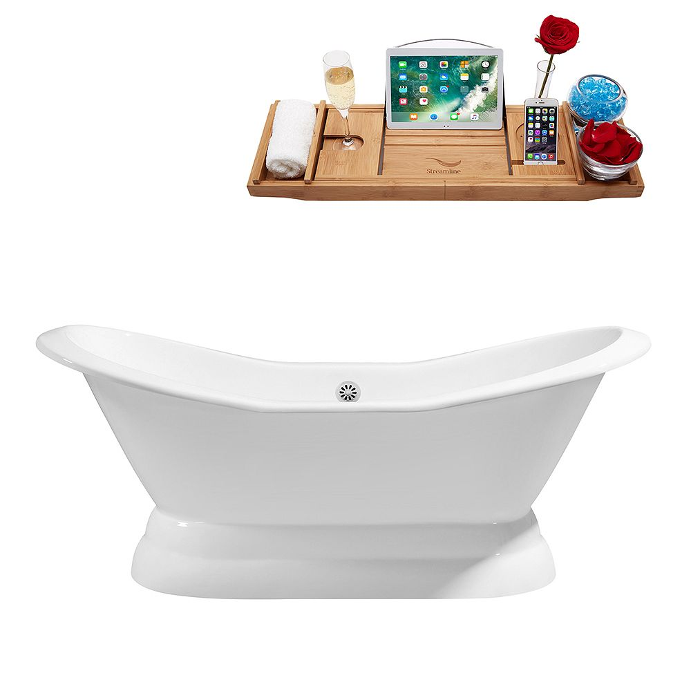 Streamline 72 inch Cast Iron R5180WH Soaking freestanding Tub and Tray with External Drain