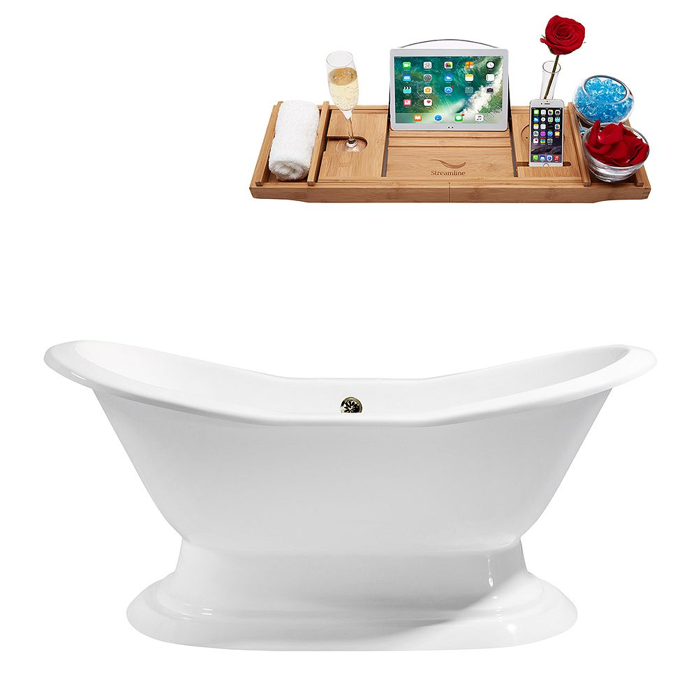 Streamline 72 inch Cast Iron R5200BNK Soaking freestanding Tub and Tray with External Drain