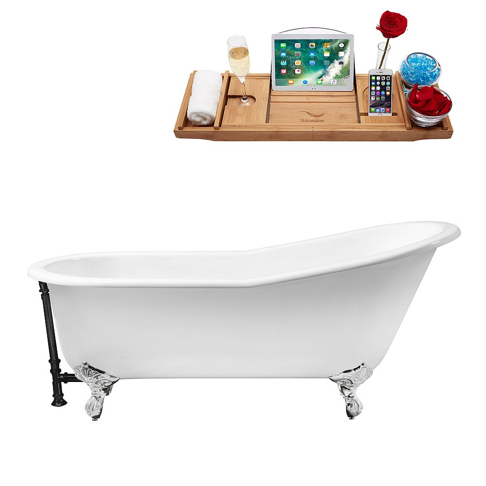 Streamline 67 inch Cast Iron R5220CH-BL Soaking Clawfoot Tub and Tray with External Drain