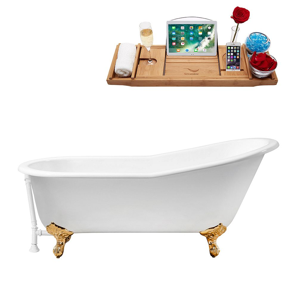 Streamline 67 inch Cast Iron R5220GLD-WH Soaking Clawfoot Tub and Tray with External Drain