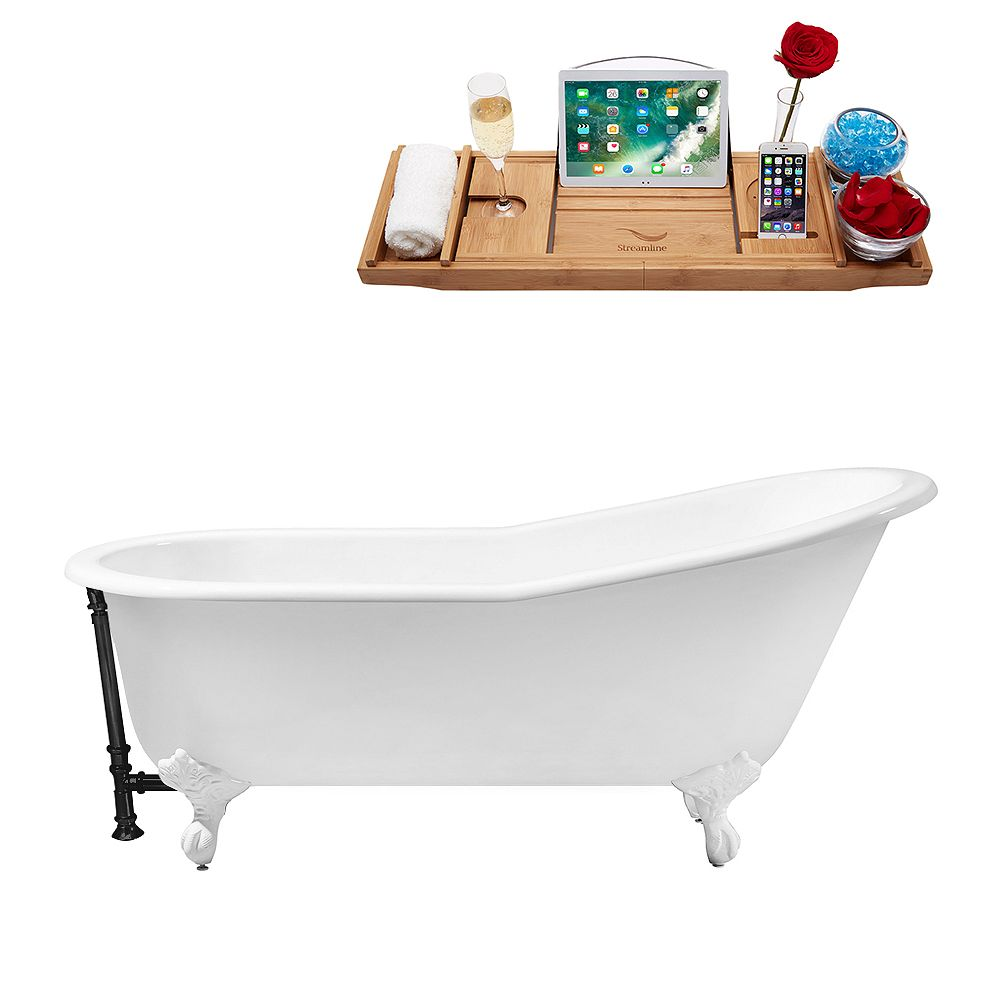 Streamline 67 inch Cast Iron R5220WH-BL Soaking Clawfoot Tub and Tray with External Drain