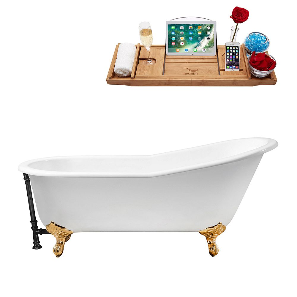 Streamline 61 inch Cast Iron R5221GLD-BL Soaking Clawfoot Tub and Tray with External Drain