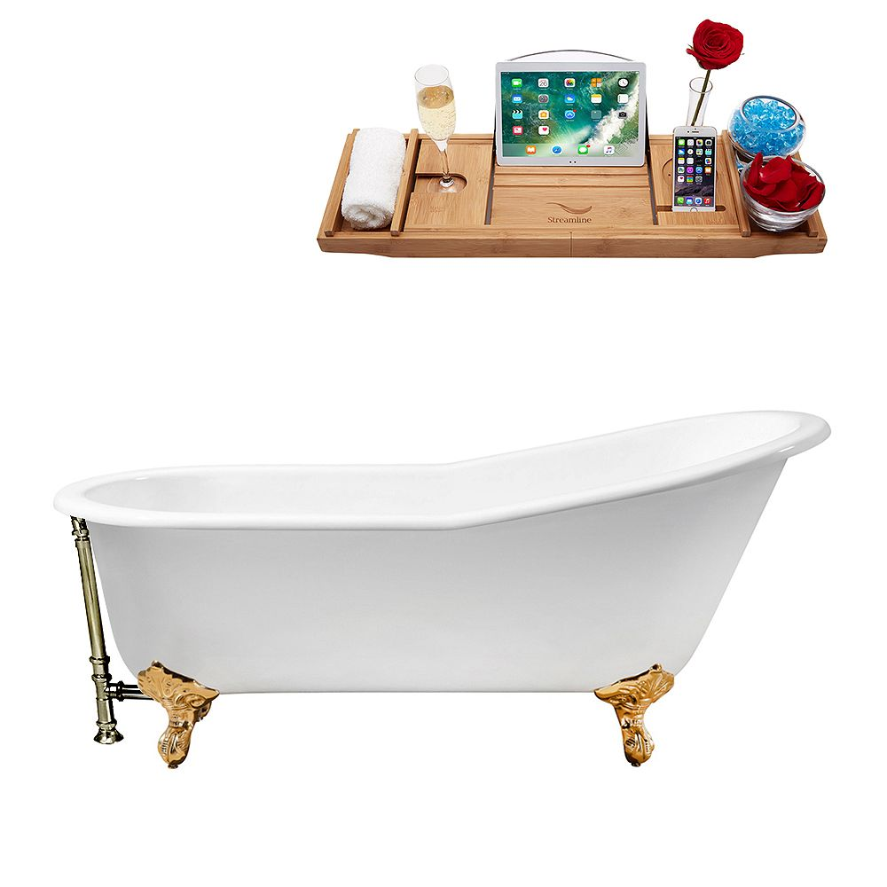 Streamline 61 inch Cast Iron R5221GLD-BNK Soaking Clawfoot Tub and Tray with External Drain