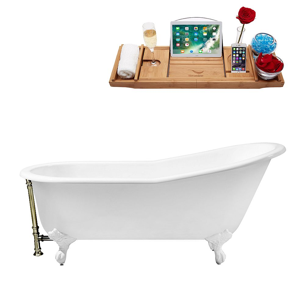 Streamline 61 inch Cast Iron R5221WH-BNK Soaking Clawfoot Tub and Tray with External Drain