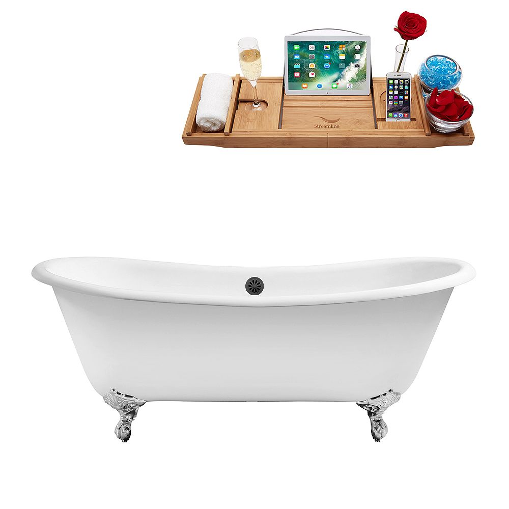 Streamline 71 inch Cast Iron R5240CH-BL Soaking Clawfoot Tub and Tray with External Drain