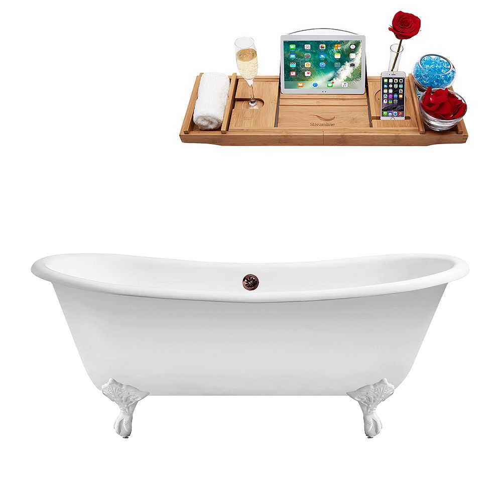 Streamline 71 inch Cast Iron R5240WH-ORB Soaking Clawfoot Tub and Tray with External Drain