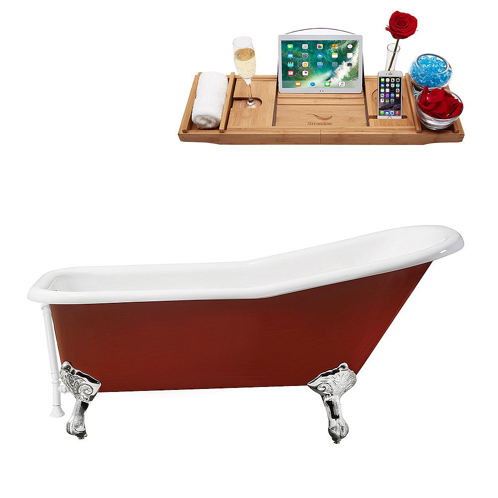 Streamline 66 inch Cast Iron R5280CH-WH Soaking Clawfoot Tub and Tray with External Drain