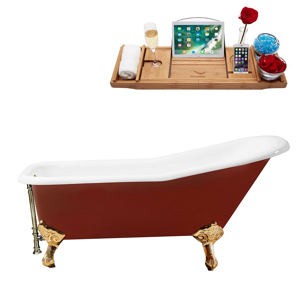 Streamline 66 inch Cast Iron R5280GLD-BNK Soaking Clawfoot Tub and Tray with External Drain