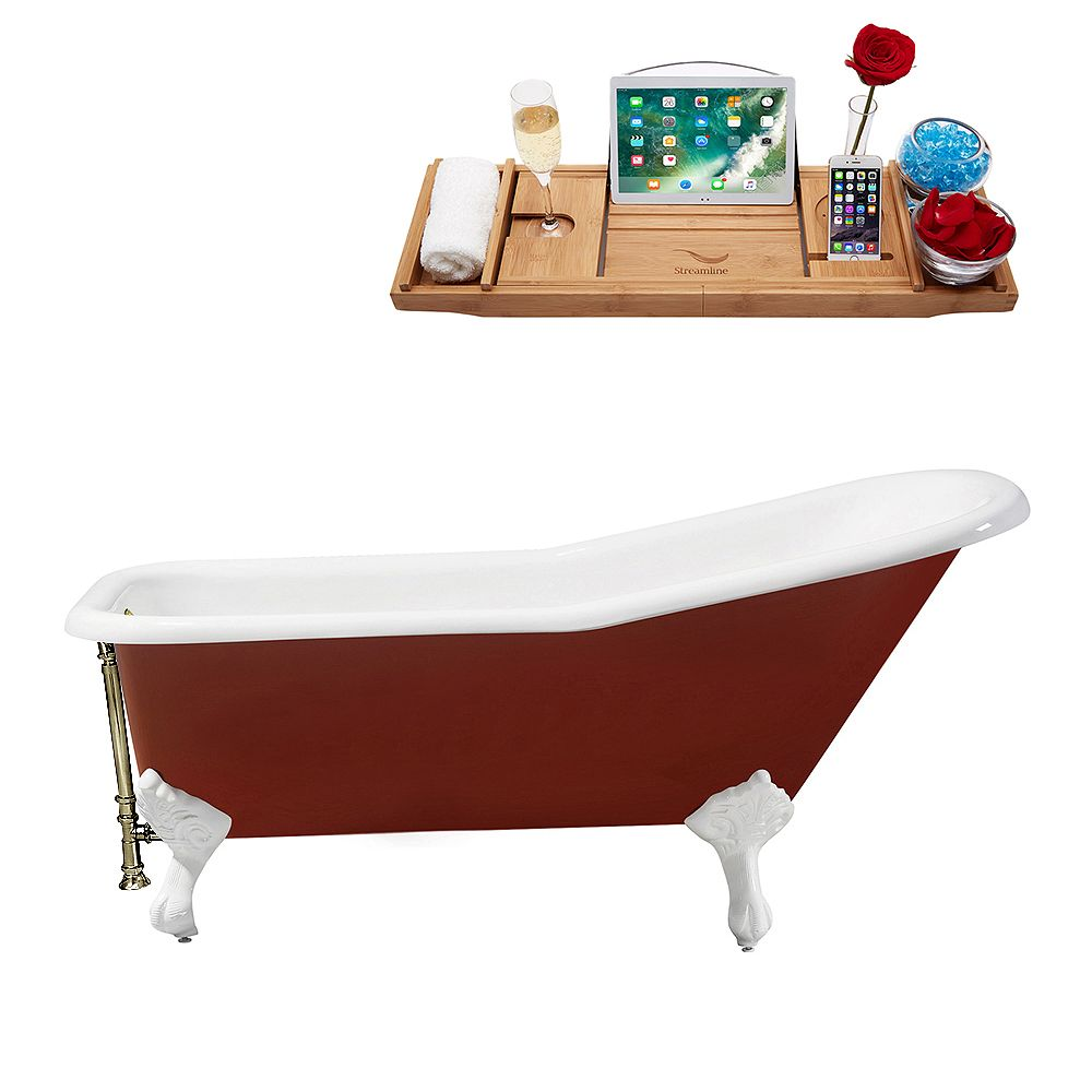 Streamline 66 inch Cast Iron R5280WH-BNK Soaking Clawfoot Tub and Tray with External Drain