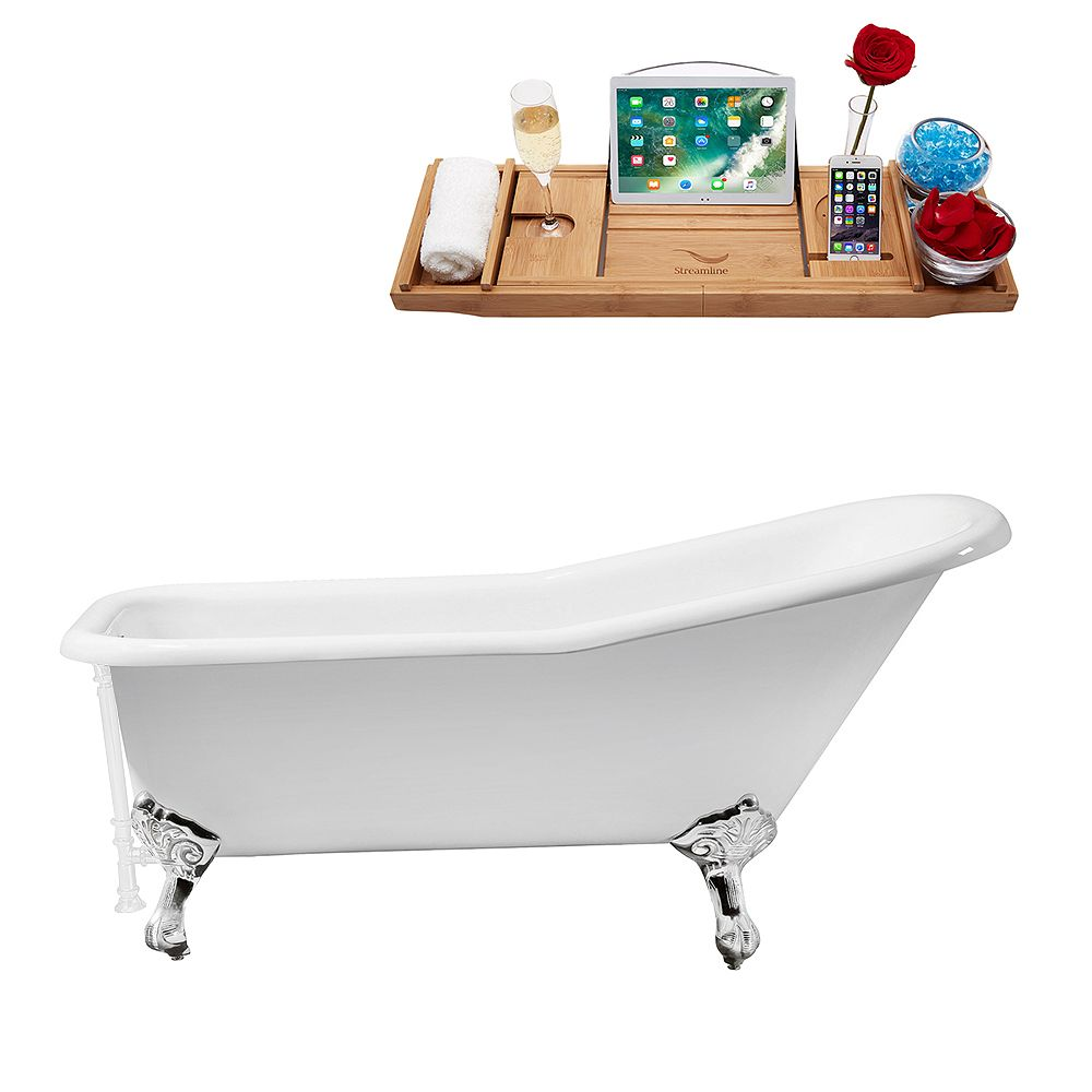 Streamline 66 inch Cast Iron R5281CH-WH Soaking Clawfoot Tub and Tray with External Drain