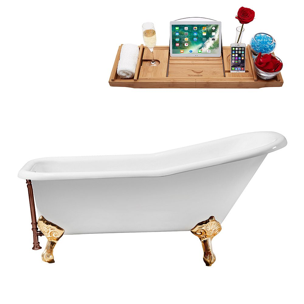 Streamline 66 inch Cast Iron R5281GLD-ORB Soaking Clawfoot Tub and Tray with External Drain