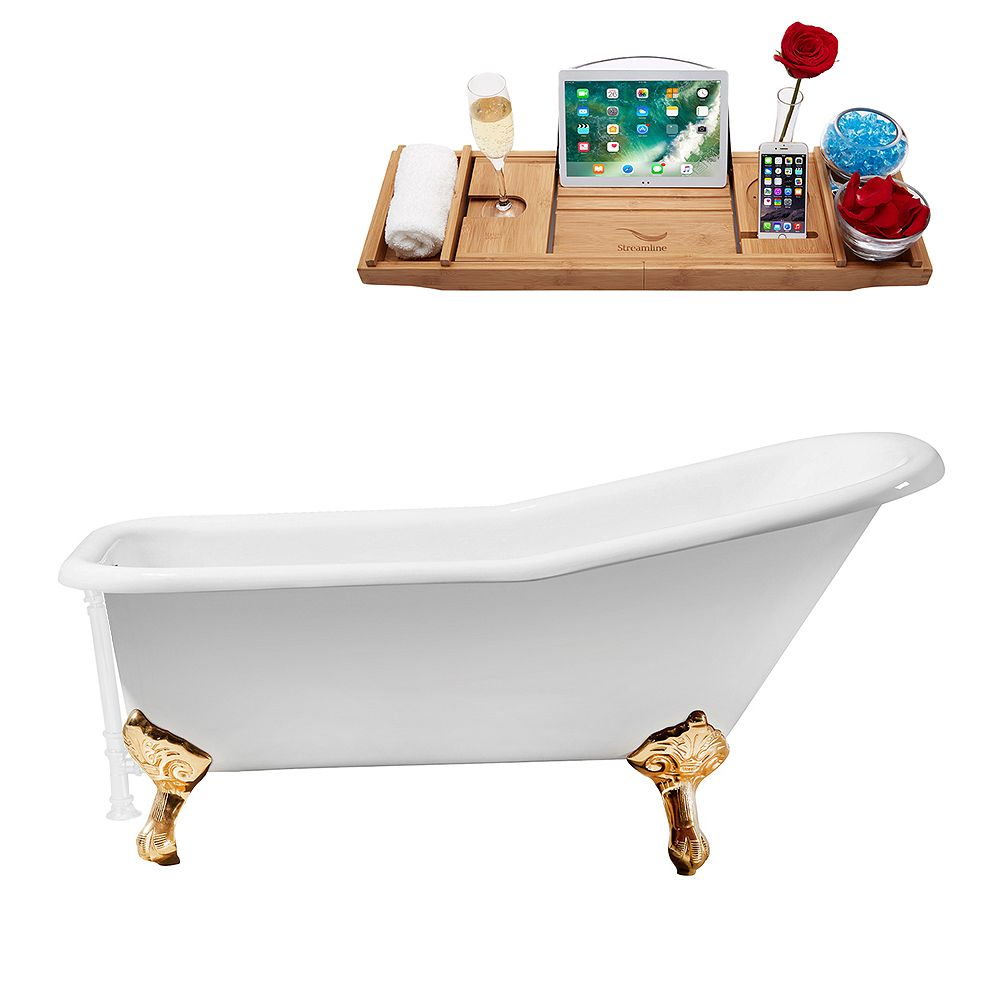 Streamline 66 inch Cast Iron R5281GLD-WH Soaking Clawfoot Tub and Tray with External Drain