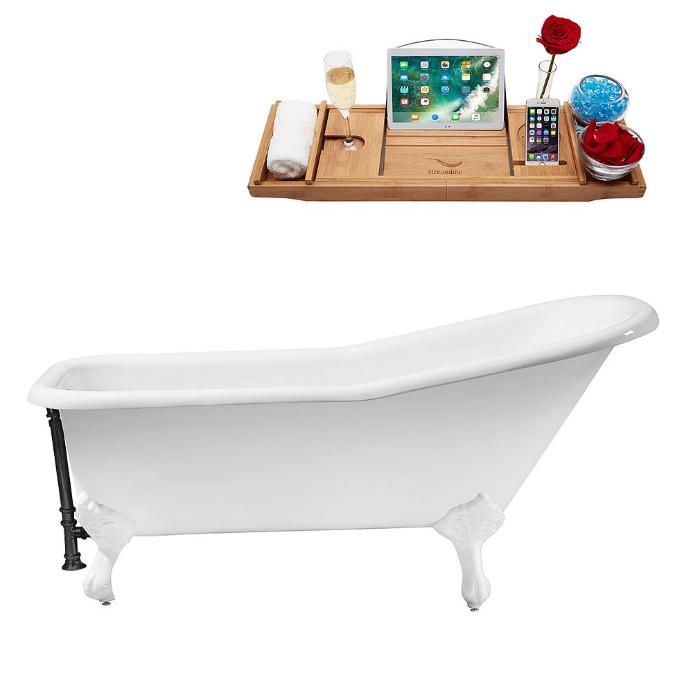 Streamline 66 inch Cast Iron R5281WH-BL Soaking Clawfoot Tub and Tray with External Drain
