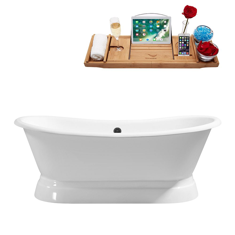 Streamline 71 inch Cast Iron R5300BL Soaking freestanding Tub and Tray with External Drain