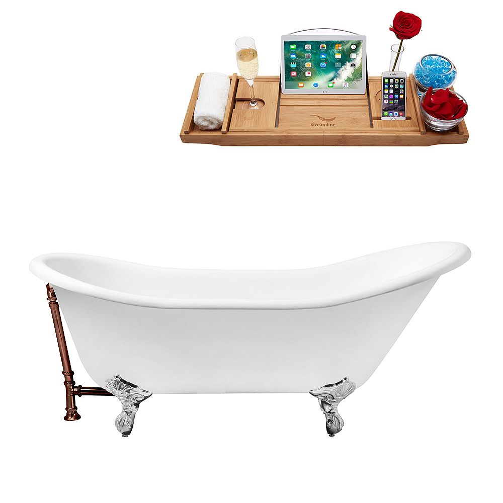 Streamline 67 inch Cast Iron R5420CH-ORB Soaking Clawfoot Tub and Tray with External Drain