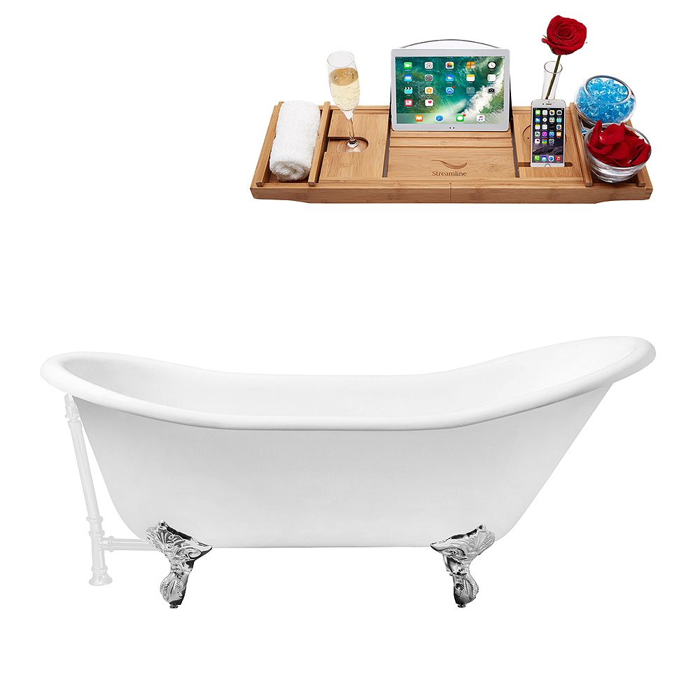 Streamline 67 inch Cast Iron R5420CH-WH Soaking Clawfoot Tub and Tray with External Drain