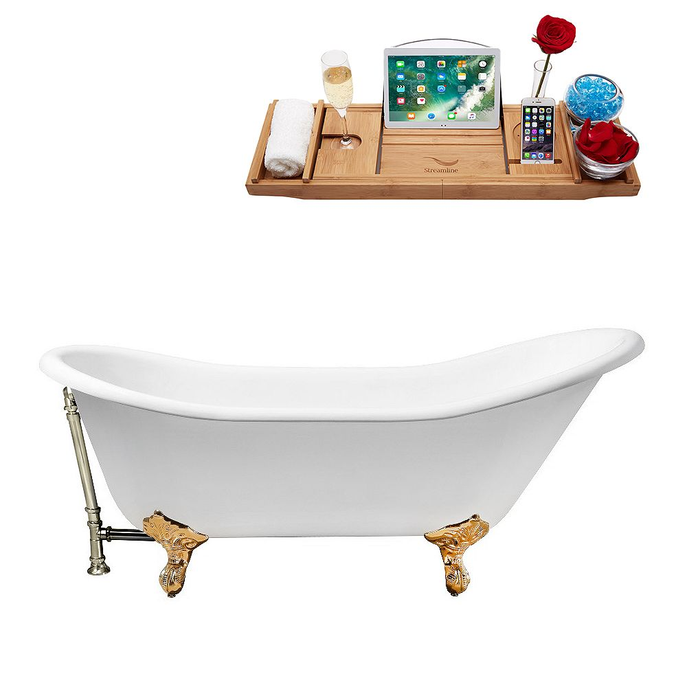 Streamline 67 inch Cast Iron R5420GLD-BNK Soaking Clawfoot Tub and Tray with External Drain