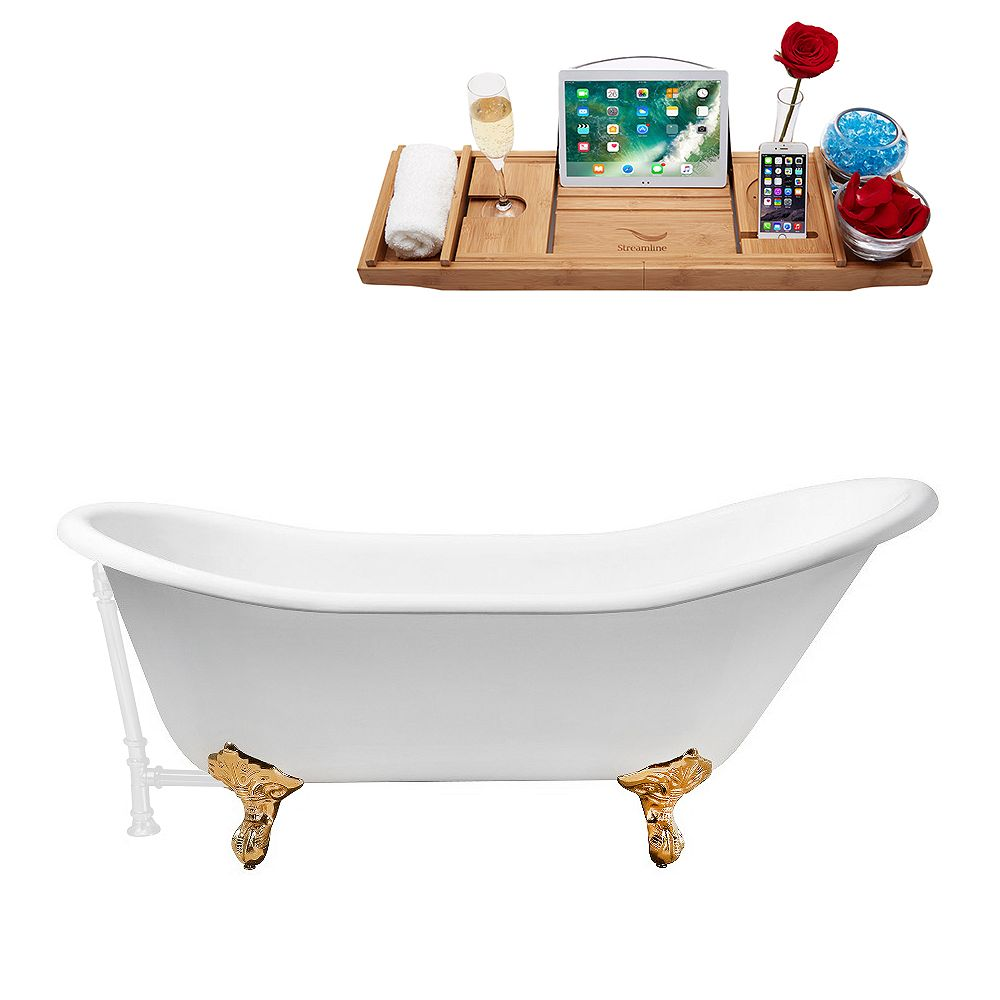 Streamline 67 inch Cast Iron R5420GLD-WH Soaking Clawfoot Tub and Tray with External Drain