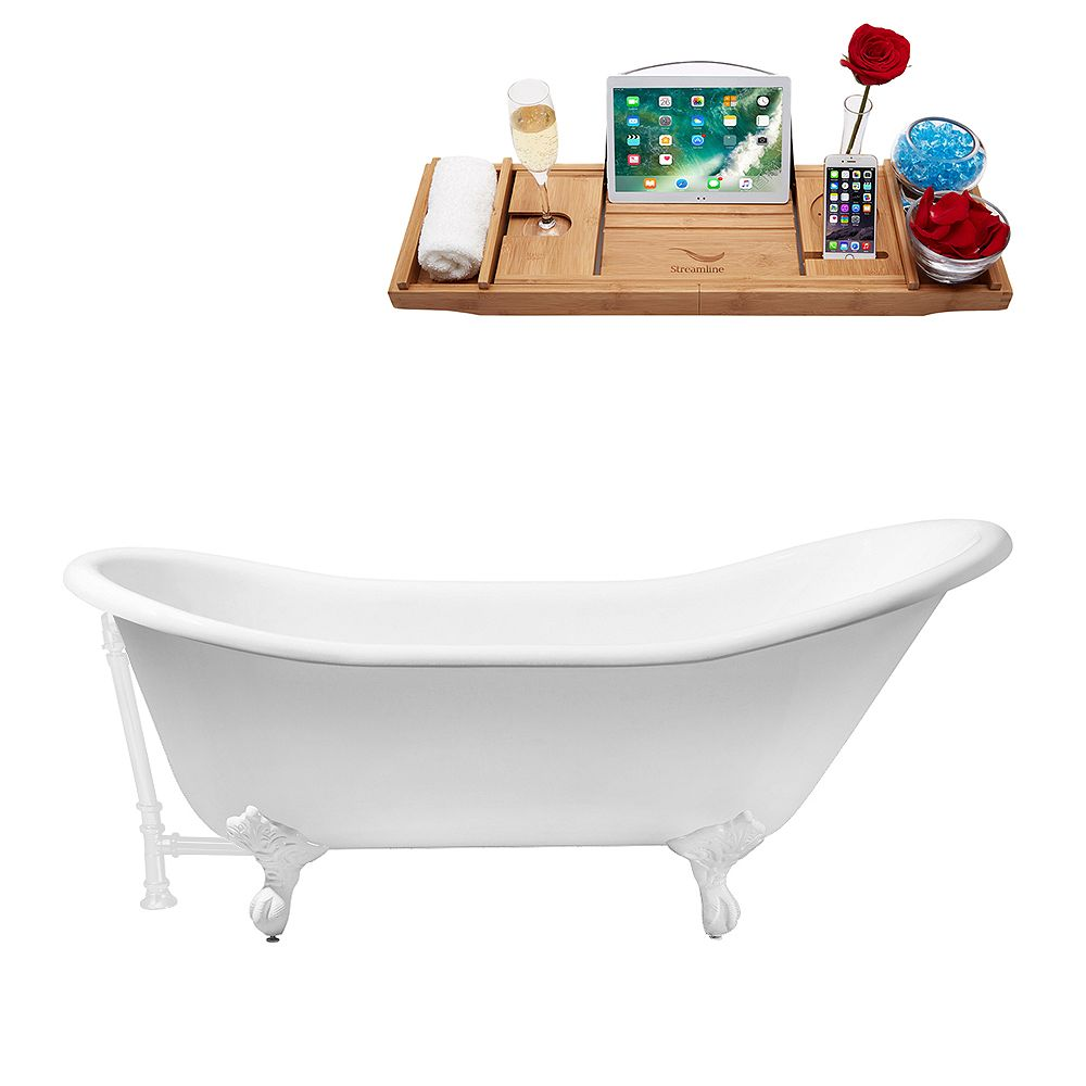 Streamline 67 inch Cast Iron R5420WH-WH Soaking Clawfoot Tub and Tray with External Drain