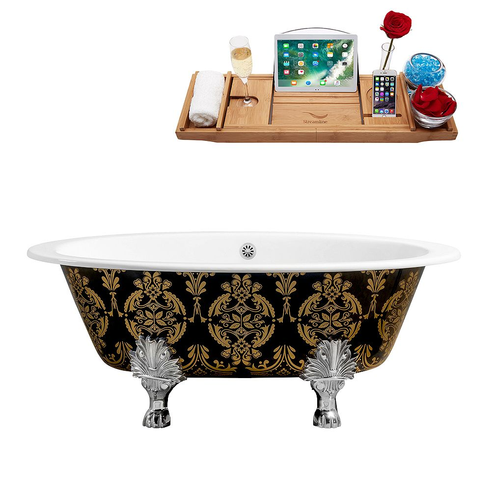 Streamline 65 inch Cast Iron R5440CH-WH Soaking Clawfoot Tub and Tray with External Drain