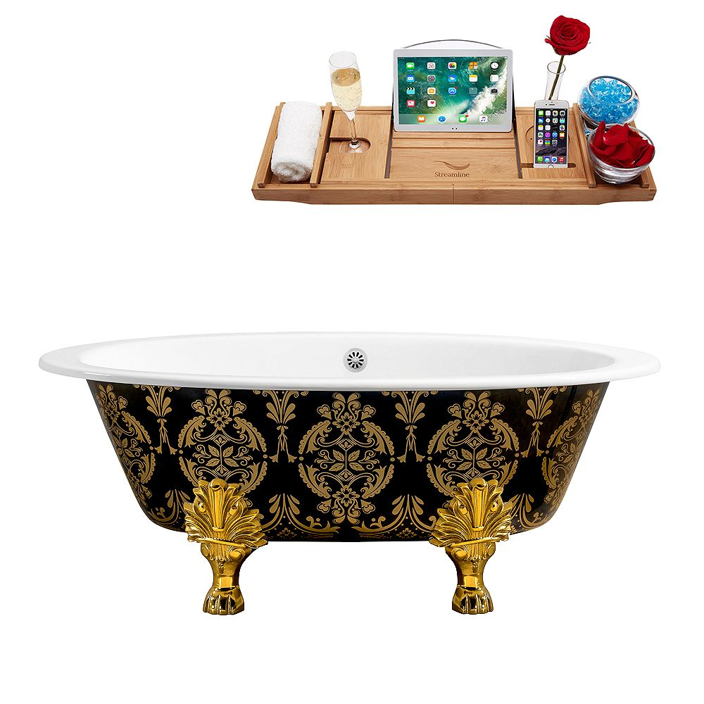 Streamline 65 inch Cast Iron R5440GLD-WH Soaking Clawfoot Tub and Tray with External Drain