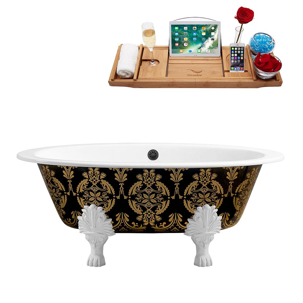 Streamline 65 inch Cast Iron R5440WH-BL Soaking Clawfoot Tub and Tray with External Drain