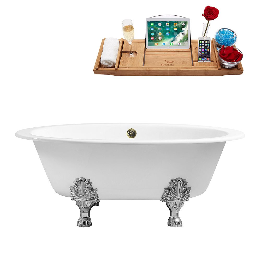 Streamline 65 inch Cast Iron R5442CH-BNK Soaking Clawfoot Tub and Tray with External Drain