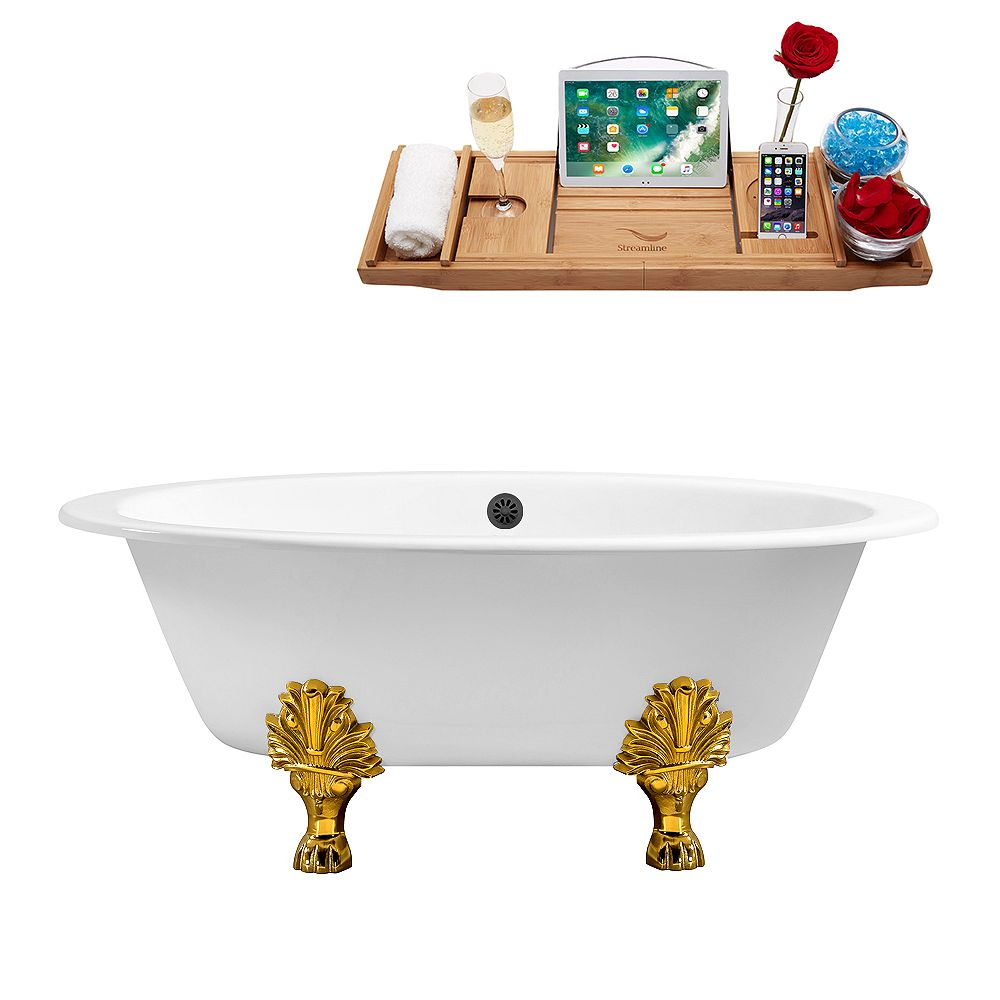 Streamline 65 inch Cast Iron R5442GLD-BL Soaking Clawfoot Tub and Tray with External Drain