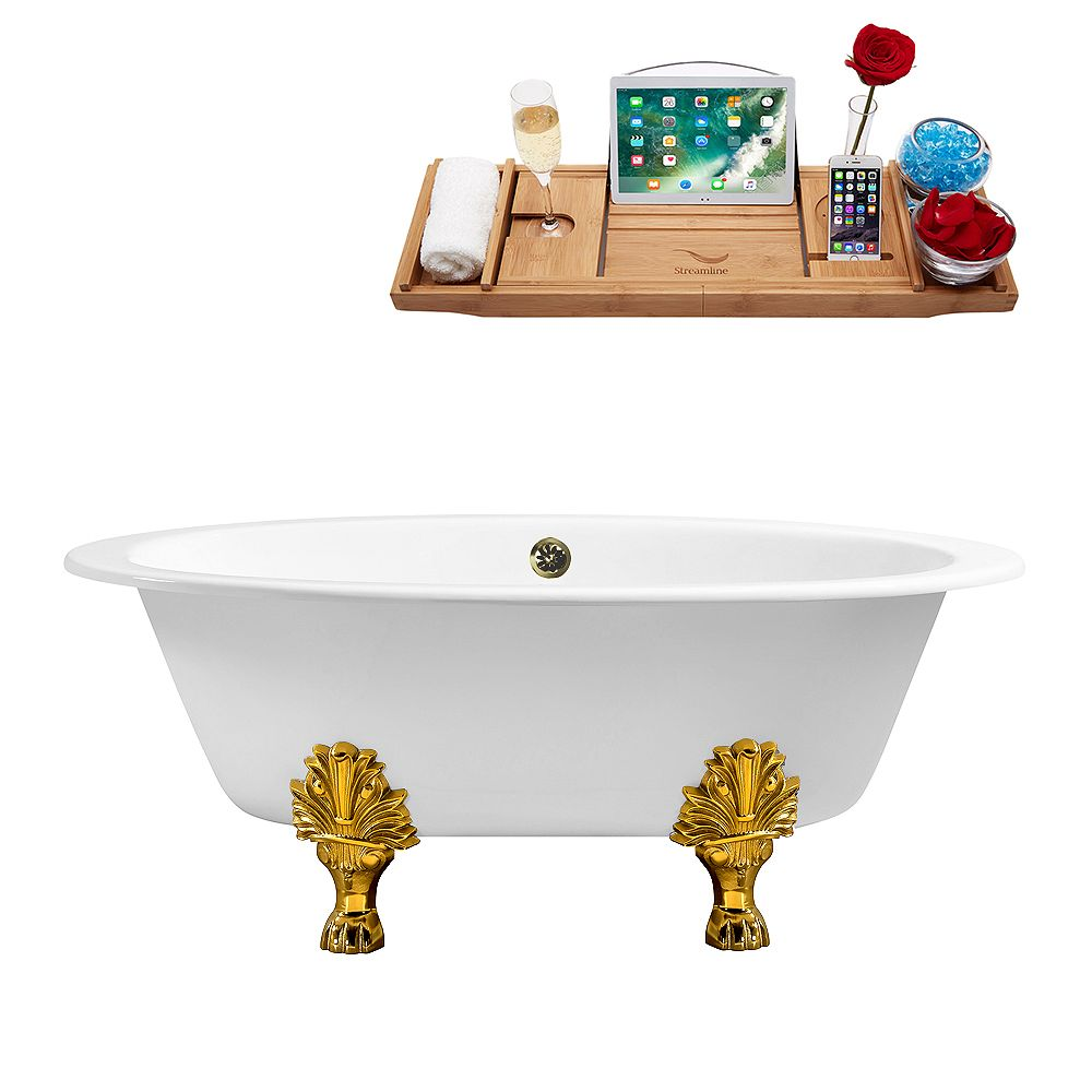 Streamline 65 inch Cast Iron R5442GLD-BNK Soaking Clawfoot Tub and Tray with External Drain