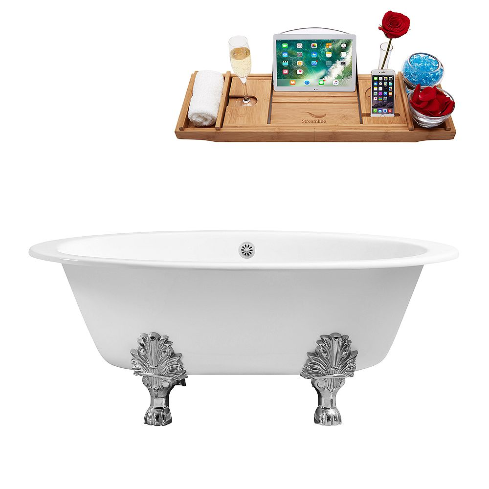 Streamline 65 inch Cast Iron R5442GLD-WH Soaking Clawfoot Tub and Tray with External Drain