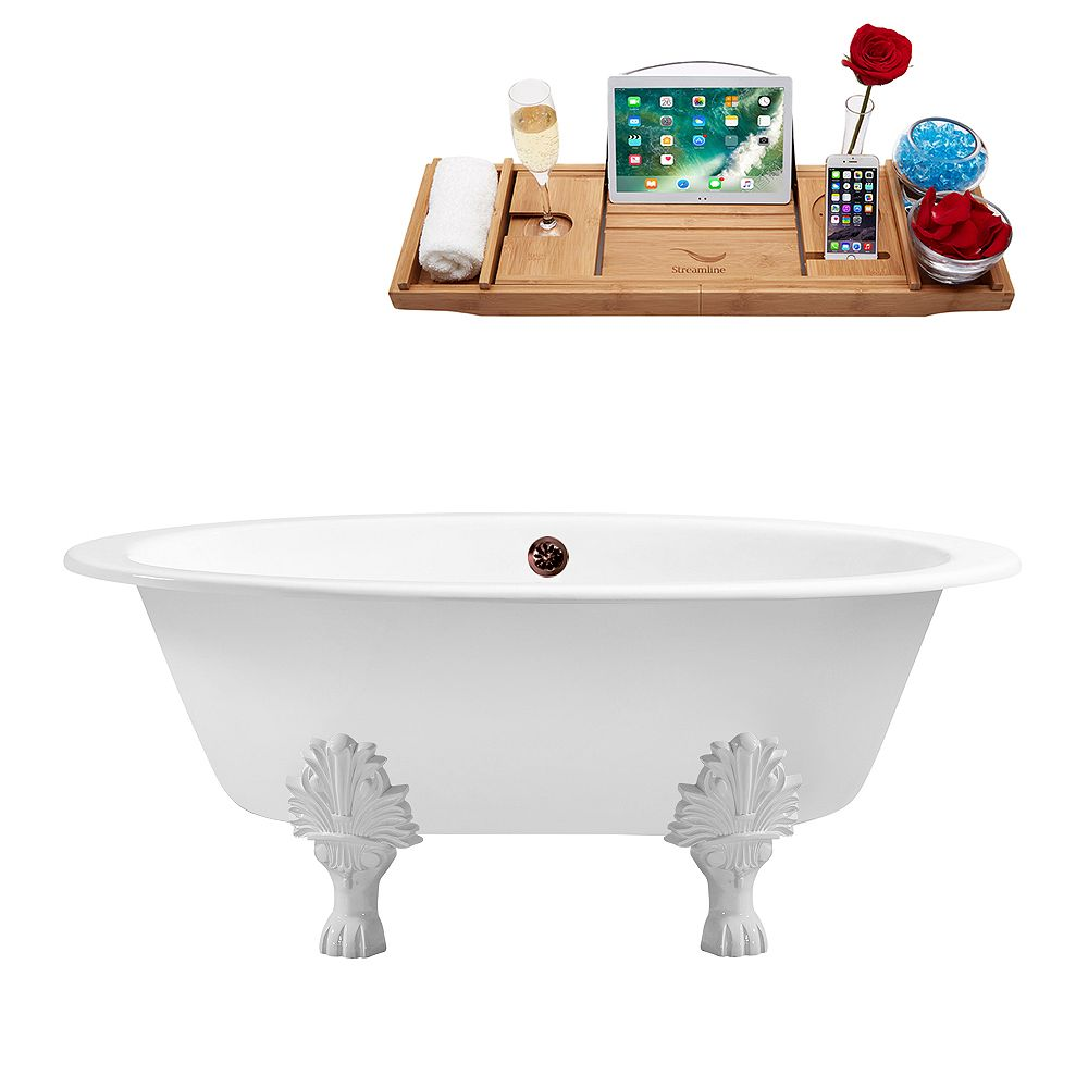 Streamline 65 inch Cast Iron R5442WH-ORB Soaking Clawfoot Tub and Tray with External Drain