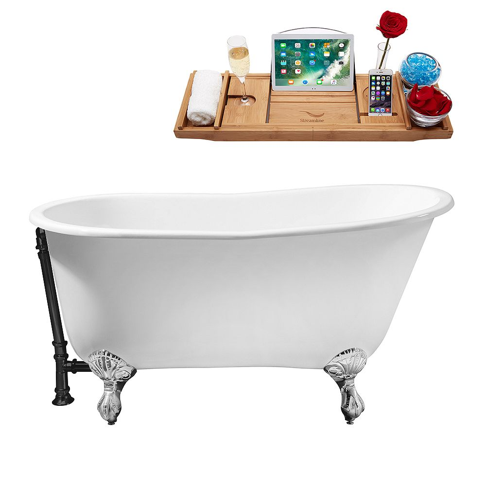 Streamline 53 inch Cast Iron R5460CH-BL Soaking Clawfoot Tub and Tray with External Drain